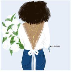 The bride loves denim, jewels and White flowers #nichollekobi #blackwomanart