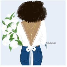 The bride loves denim, jewels and White flowers #nichollekobi #blackwomanart