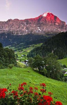At the Eiger peak during sunset in Grindelwald Switzerland.