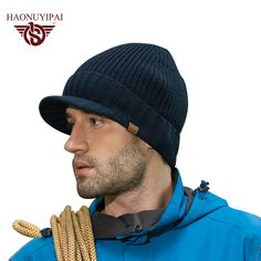 Get Promo $5.61, Buy New Arrive Winter Men Knitted Hats Cotton Acrylic Brim Caps Outdoor Ski Earflap Beanie Skullies Cap Warm Christmas A046