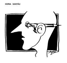 Caricatura de HORIA SANTAU, publicata in almanahul PERPETUUM COMIC '97 editat de URZICA, revista de satira si umor din Romania