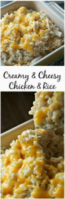 Creamy and Cheesy Chicken and Rice: brown rice, cooked chicken, and lots of chee. CLICK Image for full details Creamy and Cheesy Chicken and Rice: brown rice, cooked chicken, and lots of cheese all swimming in a decaden. Think Food, I Love Food, Good Food, Yummy Food, Cheesy Chicken, Cooked Chicken, How To Cook Chicken, Boneless Chicken, Balsamic Chicken