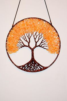 12 Tree Of Life Wall Decor Hanging - Gemstone Wire Tree   The tree is made with painted copper wire and big citrine beads The ring size is 12 inch or 30 centimeters The tree is holded with a leather string    Airmail shipping priority   For more questions please contact.