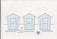 Stitched beach-huts.Note the bucket, spade & ball- and the sea-gulls