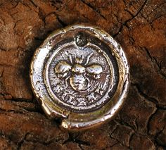 Rustic Bee Seal Charm in Sterling Silver by cathydailey on Etsy, $7.27