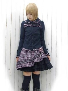 Cutsew Blouse w/ Plaid Frill Black x Pink. #punkfashion #Gothic #Deorart See more at: http://www.cdjapan.co.jp/apparel/deorart.html