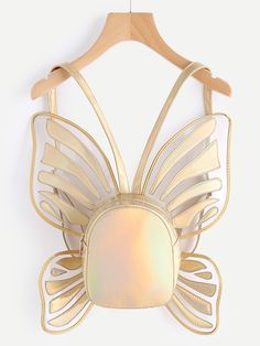 SheIn offers Butterfly Shaped Metallic PU Backpack & more to fit your fashionable needs. Metallic Backpacks, Gold Backpacks, Cute Backpacks, Butterfly Bags, Butterfly Shape, White Backpack, Backpack Bags, Backpack Online, Rucksack Bag