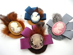 Lady Cameo Felt Brooch with feathers. $13.00, via Etsy.