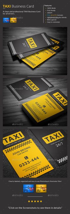Taxi Business Card — Photoshop PSD #cab #clean • Available here → https://graphicriver.net/item/taxi-business-card/9946256?ref=pxcr
