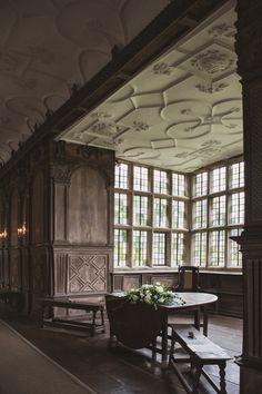 The Tudor period Long Gallery, constructed around 1600 Haddon Hall, Derbyshire, U.K.