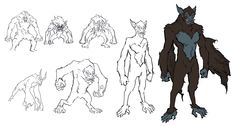 Development sketches for a Jinn character in Raksa by Zid