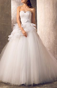 A-line Princess Sweetheart Sweep/Brush Train Tulle Wedding Dress