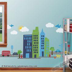 Superhero City Wall Decal - Skyline - Childrens Nursery Wall Art - Kids Decor - Transportation Decals - Dwell Studio - 36 x 72. $98.00, via Etsy.