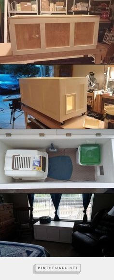 woodworkingchic - Engenius way to hide the kitty litter box in plain site! Tip: Try using Chick Crumbles (feed for baby chickens from local feed store) instead of kitt. - a grouped images picture - Pin Them All Hidden Litter Boxes, Cat Litter Boxes, Litter Box Enclosure, Baby Chickens, Cat Room, Cat Behavior, Cat Furniture, Diy Stuffed Animals, Home Projects