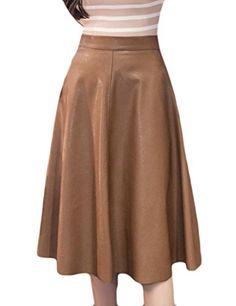 2cf9230110 Fulok Womens High Waist Pleated PU Leather Flare Midi Swing Skirt Camel L  *** ** AMAZON BEST BUY ** #SummerOutfit