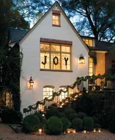 """The """"JOY"""" is not my favorite Christmas decoration, but the house is beautiful."""