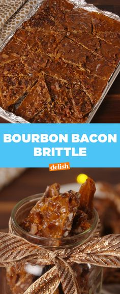 Bourbon Bacon Brittle is the Christmas gift everyone will want this season. Get the recipe at Delish.com. #bourbon #alcohol #booze #diy #christmas #holiday #gift #present #brittle #caramel #salt #flakysalt #delish #recipes #easyrecipe #holidaygifts #holidayseason #holidayrecipes