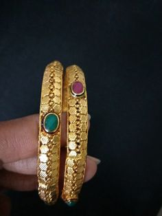 Indian Gold Finish Bangles / Bollywood Bangles / Indian Golden Bracelet / Set of 2 Bangles / Red Green Stone Bangles / Gift for Her. Bracelet Set, Bangle Bracelets, Bangles, Indian Wedding Jewelry, Indian Jewelry, Bollywood Jewelry, Gold Polish, Green Stone, Bridesmaid Jewelry
