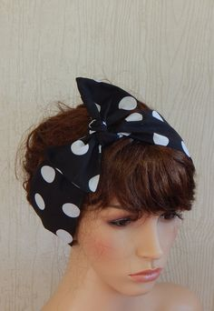 Rockabilly hair scarf black and white polka by verycuteheadbands