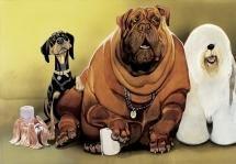Erich Sokol: Groß oder klein, der Gehsteig bleibt rein, Ausstellung Tierisch komisch! Das Animalische in der Karikatur, Karikaturmuseum © Erich Sokol Privatstiftung, Mödling, 2008