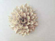 Paper Dahlia Spring Wreath from vintage papers on Etsy.