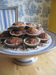 Carrot muffins on a Nicholas Mosse Old Rose Cake Plate Irish Pottery, Carrot Muffins, Rose Cake, Cake Plates, Mousse, Household, Passion, Entertaining, Meals