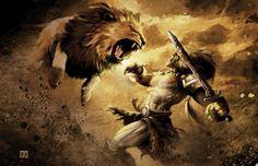hercules and the lion by alejandrorojas.deviantart.com