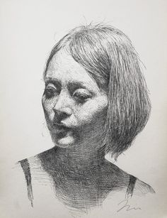 "Pen artist Sam Kim | ""Portrait of a young Lady"" | Pen drawing (2012)"