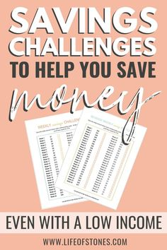 I had so much trouble saving money until I tried a few of these money savings challenges!  These savings challenge printables helped me track my savings and gave me some saving money tips to help you save money for 52 weeks!  These money saving challenges are a great savings plan even if you have a low income!  #savingmoney #moneysavingtips #savingchallenge #savemoney