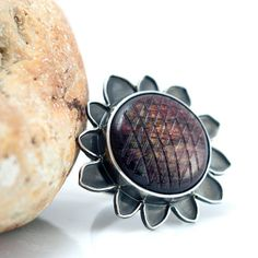 Silver Labradorite Ring Sunflower ring Flower by MauraSarabeth, $125.00