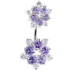 c0ea2a6de9e242 Sterling Silver 925 Lavender Cubic Zirconia Flower Belly Ring