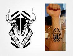 Bull tattoo illustration by Wilson López Ajtun, accented by geometric line art. #blackwork #ink #taurus