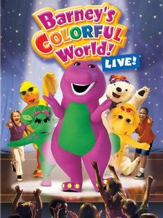 Barney: Barney's Colorful World: Live - Join happy purple dinosaur Barney, as he, Baby Bop and BJ sing 25 of their most popular songs, including 'B-I-N-G-O' and 'If All the Raindrops. Latest Movies Out, Barney The Dinosaurs, Barney & Friends, The Wiggles, Instant Video, Movie Gifs, Family Movies, Make New Friends, Childhood Memories