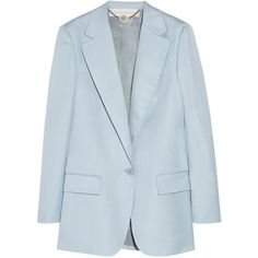 Stella McCartney Woven blazer (8,440 MXN) ❤ liked on Polyvore featuring outerwear, jackets, blazers, tops, sky blue, loose jacket, woven jacket, sky blue blazer, one button jacket and one-button blazer