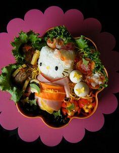 """""""Hello Kitty in kimono"""" bento!! amazing."""
