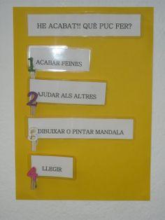 Cartell amb què els alumnes saben el que poden fer en acabar una activitat.