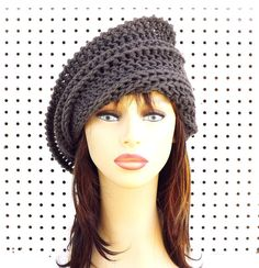 Graphite Crochet Hat Graphite Gray Crochet Hat Womens Hat Steampunk Hat Crochet Beanie Hat Graphite Gray Hat Graphite Hat JUDY Beanie Hat by strawberrycouture by #strawberrycouture on #Etsy