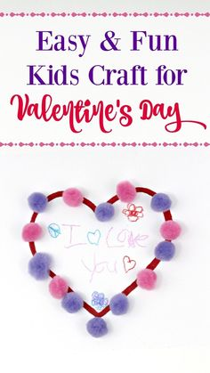 Kids Craft for Valentine's Day - Need a great idea to keep kids busy on those cold, winter days? This Pom Pom Valentine's Day craft for kids is so cute and super simple to make! It makes a great handmade card to give to relatives too! Diy Valentines Cards, Valentine Treats, Valentine Day Crafts, Be My Valentine, Crayon Crafts, Valentine's Day Crafts For Kids, Homemade Beauty Products, Business For Kids, Creative Crafts