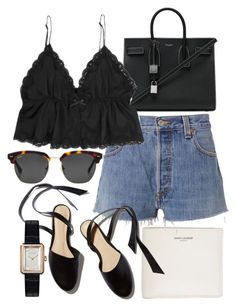 """Untitled #21801"" by florencia95 ❤ liked on Polyvore featuring Yves Saint Laurent, RE/DONE and Chanel"