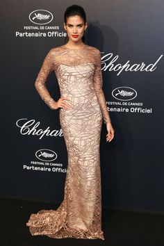 Sara Sampaio wears a Blumarine gown at the Soiree Chopard Gold Party on May 18, 2015.