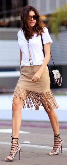 Fringed Suede Skirt - Street style