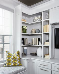 34 Bookshelves In Living Room Small Spaces Shelving Guide 333 - myhomeorganic Bedroom Built Ins, Living Room Built Ins, Bookshelves In Living Room, Small Living Rooms, Master Bedroom, Built In Wall Units, Built In Bookcase, Bookcases, Office Furniture Design