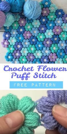 Crochet blanket patterns free 354165958196436274 - You will love to make this Crochet Puff Stitch Flower Pattern and you can make all sorts of fabulous creations with it. Watch the video now. Puff Stitch Crochet, Crochet Puff Flower, Crochet Flower Tutorial, Crochet Diy, Love Crochet, Crochet Crafts, Crochet Projects, Blanket Crochet, Crochet Roses