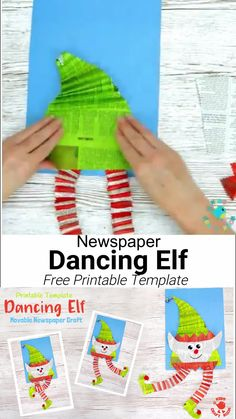 DANCING ELF CRAFT - An adorable interactive Christmas elf craft kids will love. This Christmas craft for kids is super easy to make with the free printable template and old newspaper. Wiggle the elf's body to watch his legs dance around! Such a fun recycl Christmas Art Projects, Christmas Arts And Crafts, Christmas Elf, Holiday Crafts, Fun Crafts, Halloween Crafts, Christmas Art For Kids, Crafts For Kids To Make, Craft Kids