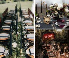 Una boda terroríficamente romántica - La novia indie Indie, Table Settings, Colorful Smoke, 秋のウェディング 装飾, Elegant Wedding, Boyfriends, Table Top Decorations, Place Settings, Dinner Table Settings