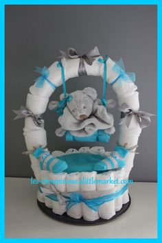 Original baby boy baptism gift diaper cake: decoration… - Baby Diy - Cool And Trendy Decor - Find The Most Searched Decor Ideas of All Time Baby Shower Cakes, Deco Baby Shower, Baby Shower Diapers, Baby Boy Shower, Baby Showers, Baby Shower Gifts, Baby Hamper, Baby Baskets, Diaper Cake Boy