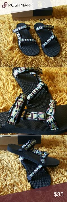 Teva Sandals I am selling a NEW pair of Teva Sandals. They are size 9 in women. This style is called Universal Slide in Mosaic black.  The design is so cool ans vibrant. Comes with box. Teva Shoes Sandals