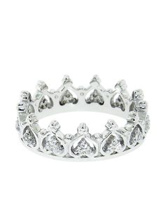 Sterling Silver Pave Elizabeth Crown Ring