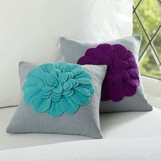 Shop Pottery Barn Teen for all your teen bedding needs! Browse our collection of sheets, duvets, pillow, throws and more and create a cool and unique bedroom. Felt Flower Pillow, Felt Pillow, Pillow Room, Pillow Talk, Cute Pillows, Diy Pillows, Decorative Pillows, Throw Pillows, Purple Pillows