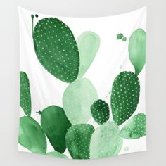 Wall Tapestry featuring Green Paddle Cactus II by THE AESTATE